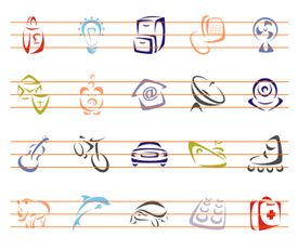 Brush Line Vector Icons Collection