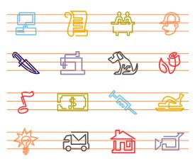 Continuous Lines Vector Icons Collection